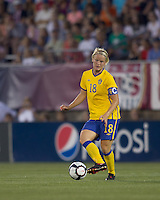 Sweden midfielder Nilla Fischer (18). The US Women's national team beat Sweden, 3-0, at Rentschler Field on July 17, 2010.