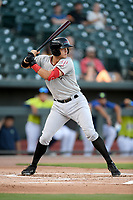 Third baseman Josh Jung (15) of the Hickory Crawdads bats in a game against the Columbia Fireflies on Wednesday, August 28, 2019, at Segra Park in Columbia, South Carolina. Hickory won, 7-0. (Tom Priddy/Four Seam Images)