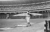Washington, D.C. - April 7, 1970 -- Left fielder Frank Howard (33) takes some warm-up swings before stepping to bat in first inning action against the Detroit Tigers at RFK Stadium in Washington, D.C. on April 7, 1970.  The Senators won the game 14 - 4..Credit: Arnie Sachs / CNP