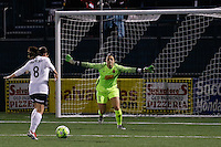 Rochester, NY - Friday April 29, 2016: Western New York Flash goalkeeper Sabrina D'Angelo (1) comes off her line to defend Washington Spirit forward Diana Matheson (8). The Washington Spirit defeated the Western New York Flash 3-0 during a National Women's Soccer League (NWSL) match at Sahlen's Stadium.