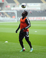 Wednesday, 23 April 2014<br /> Pictured: Wilfried Bony.<br /> Re: Swansea City FC are holding an open training session for their supporters at the Liberty Stadium, south Wales,