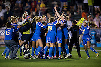 UCLA celebrates afterthe Women's College Cup semifinals at WakeMed Soccer Park in Cary, NC. UCLA advance on penalty kicks after typing Virginia, 1-1 in regulation time.