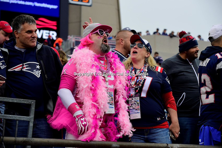 Sunday, October 2, 2016: A New England Patriots fan cheers on the team at the NFL game between the Buffalo Bills and the New England Patriots held at Gillette Stadium in Foxborough Massachusetts. Buffalo defeats New England 16-0. Eric Canha/Cal Sport Media