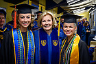 May 19, 2019; (left to right) Salutatorian Annelise Marie Gil-Wiehl, main Commencement speaker Peggy Noonan and Valedictorian Sofia Carozza pose for a photo prior to the 2019 Notre Dame Commencement ceremony. (Photo by Matt Cashore/University of Notre Dame)