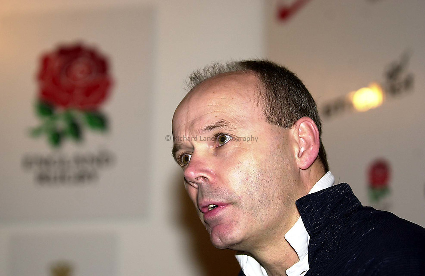 Photo. Richard Lane. .England Squad Announcement at Pennyhill Hotel, Bagshot.. 12-2-2002.Clive Woodward answers questions on his selection of Martin Johnson after a disiplinary question.