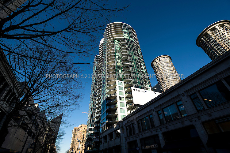 1/3/2013--Seattle, WA, USA..The best selling book ?Fifty Shades of Grey?, by British author E.L. James (real name: Erika Leonard), is set in downtown Seattle in the luxury condominium building Escala, shown here. It's in this high-rise penthouse where the submissive-domination sexual relationship between billionaire Christian Grey and naïve college student Anastasia Steele takes place....©2012 Stuart Isett. All rights reserved.