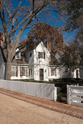 A large house and street in Colonial WIlliamsburg, VA, USA.