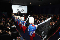 """Pictured: Swansea band exiting the cinema. Sunday 14 September 2014<br /> Re: Film premiere of """"Jack To A King"""" depicting the recent history pf Swansea City Football Club, at the Odeon Cinema, Swansea, south Wales, UK."""