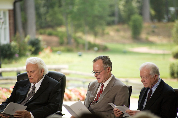 Thursday, May 31, Charlotte, North Carolina. Dedication ceremony for the new Billy Graham Library in Charlotte, North Carolina.. Billy Graham and former US presidents George Bush and Jimmy Carter.