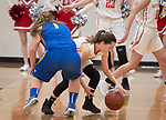 WINSTED,  CT-021919JS06- Northwestern's Francesca DeSanti (2) scoops up a loose ball in front of Gilbert's Jillian Wexler (1) during their Berkshire League semi-final game Tuesday at Northwestern Regional High School in Winsted. <br /> Jim Shannon Republican American