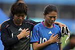 06 August 2008: Miho Fukumoto (JPN) (1) and Homare Sawa (JPN) (10).  The women's Olympic team of New Zealand tied the women's Olympic soccer team of Japan 2-2 at Qinhuangdao Olympic Center Stadium in Qinhuangdao, China in a Group G round-robin match in the Women's Olympic Football competition.