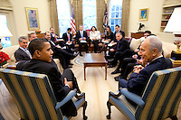 Washington, DC - May 5, 2009 -- United States President Barack Obama meets with President Shimon Peres of Israel in the Oval Office Tuesday, May 5, 2009.  .Credit: Pete Souza - The White House via CNP /MediaPunch