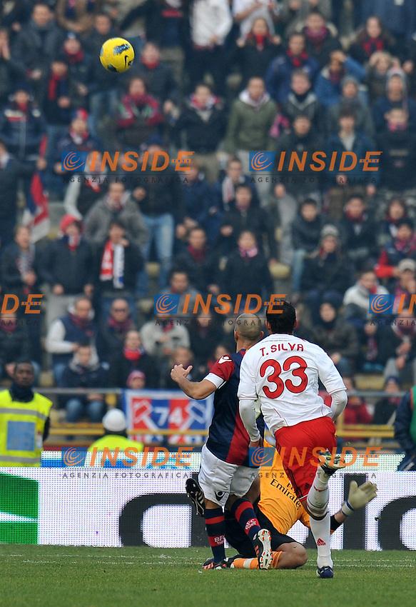 """il gol di Marco DI VAIO (Bologna) goal celebration.Bologna 11/12/2011 Stadio """"Renato Dall Ara"""".Serie A 2011/2012.Football Calcio Bologna Vs Milan.Foto Insidefoto Alessandro Sabattini."""