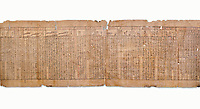 """Anciient Egyptian Book of the Dead papyrus - Spell 30 for stopping the heart betraying the deceased at the tribunal of Osiris, Iufankh's Book of the Dead, Ptolemai period (332-30BC).Turin Egyptian Museum. White Background<br /> <br /> the spell reads ' Stand not against me as a witness, oppose me not in the Council, act not against me before the gods, outweigh me not before the great God, the Lord os the West""""<br /> <br /> The translation of  Iuefankh's Book of the Dead papyrus by Richard Lepsius marked a truning point in the studies of ancient Egyptian funereal studies."""