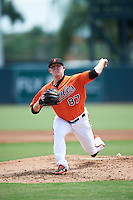 Baltimore Orioles pitcher Garrett Cleavinger (87) during an Instructional League game against the Tampa Bay Rays on September 19, 2016 at Ed Smith Stadium in Sarasota, Florida.  (Mike Janes/Four Seam Images)