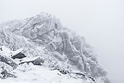 Mount Liberty in whiteout conditions during the winter months in the White Mountains, New Hampshire USA.