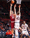 Jan 24, 2018; Champaign, IL, USA; Indiana Hoosiers forward Collin Hartman (30) shoots defended by Illinois Fighting Illini forward Michael Finke (43) during the second half at State Farm Center. Mandatory Credit: Mike Granse-USA TODAY Sports