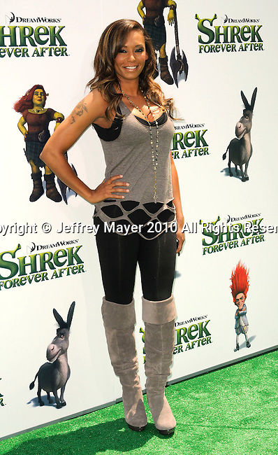 "UNIVERSAL CITY, CA. - May 16: Melanie ""Mel B"" Brown arrives at the ""Shrek Forever After"" Los Angeles Premiere at Gibson Amphitheatre on May 16, 2010 in Universal City, California."