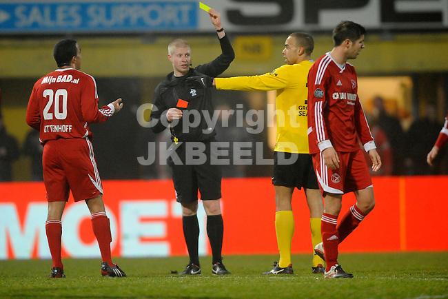 VEENDAM - Voetbal, SC Veendam - Almere City, Gjaltema stadion, seizoen 2012-2013, 15-02-2013,  Almere City FC speler Leroy Resodihardjo krijgt tweede keer geel dus rood....