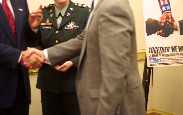 "esgr4/090502 - Handshakes at the ""My boss is a patriot"" award ceremony. a Employer Support for the Guard and Reserve award for employers who have favorable conditions for members of the military reserves."