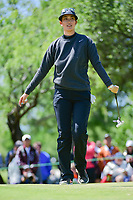 Michelle Wie (USA) after sinking her birdie putt on 1 during round 4 of  the Volunteers of America Texas Shootout Presented by JTBC, at the Las Colinas Country Club in Irving, Texas, USA. 4/30/2017.<br /> Picture: Golffile | Ken Murray<br /> <br /> <br /> All photo usage must carry mandatory copyright credit (&copy; Golffile | Ken Murray)
