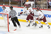 Tori Sullivan (BC - 9), Kaliya Johnson (BC - 6), Kali Flanagan (BC - 10), Haley Skarupa (BC - 22) - The Boston College Eagles defeated the Northeastern University Huskies 5-1 (EN) in their NCAA Quarterfinal on Saturday, March 12, 2016, at Kelley Rink in Conte Forum in Boston, Massachusetts.