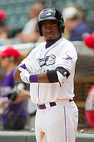 Courtney Hawkins (10) of the Winston-Salem Dash waits for his turn to bat against the Myrtle Beach Pelicans at BB&T Ballpark on July 7, 2013 in Winston-Salem, North Carolina.  The Pelicans defeated the Dash 4-2 in game one of a double-header.  (Brian Westerholt/Four Seam Images)