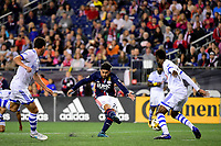 September 9, 2017 - Foxborough, Mass: New England Revolution midfielder Lee Nguyen (24) scores in the first half  during the MLS game between the Montreal Impact and the New England Revolution held at Gillette Stadium in Foxborough Massachusetts. Revolution defeat Impact 1-0. Eric Canha/CSM