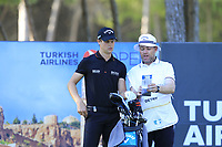 Thomas Detry (BEL) and caddy Ryan on the 17th tee during Friday's Round 2 of the 2018 Turkish Airlines Open hosted by Regnum Carya Golf &amp; Spa Resort, Antalya, Turkey. 2nd November 2018.<br /> Picture: Eoin Clarke | Golffile<br /> <br /> <br /> All photos usage must carry mandatory copyright credit (&copy; Golffile | Eoin Clarke)