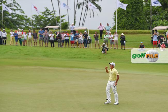 Takumi KANAYA (JPN) celebrates winning the Asia-Pacific Amateur Championship, Sentosa Golf Club, Singapore. 10/7/2018.<br /> Picture: Golffile   Ken Murray<br /> <br /> <br /> All photo usage must carry mandatory copyright credit (© Golffile   Ken Murray)