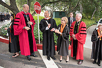 President Jonathan Veitch, Secretary of Homeland Security Jeh Johnson and Trustee Susan DiMarco before Occidental College's 133rd Commencement at the Remsen Bird Hillside Theater, on Sunday, May 17, 2015.<br /> (Photo by Marc Campos, Occidental College Photographer)