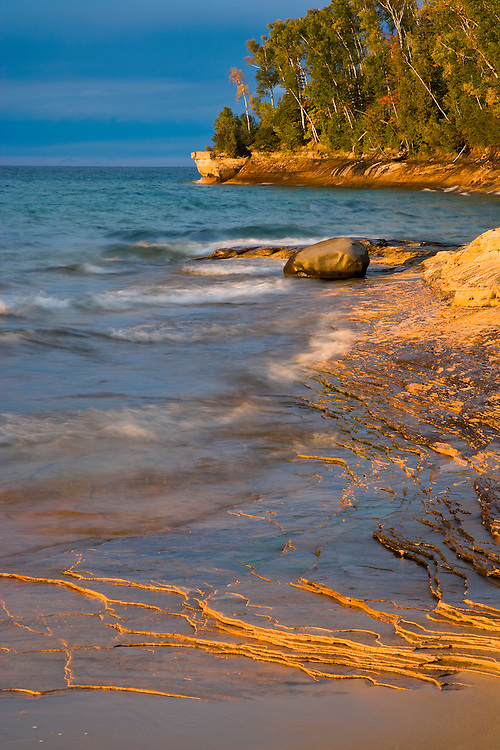 Sunset light on Lake Superior at Miners Beach; Pictured Rocks National Lakeshore, MI