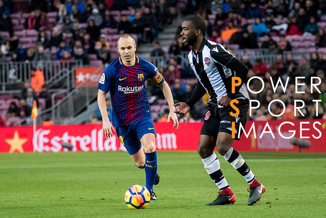 Andres Iniesta Lujan (L) of FC Barcelona fights for the ball with Shaquell Moore, Shaq Moore, of Levante UD during the La Liga 2017-18 match between FC Barcelona and Levante UD at Camp Nou on 07 January 2018 in Barcelona, Spain. Photo by Vicens Gimenez / Power Sport Images
