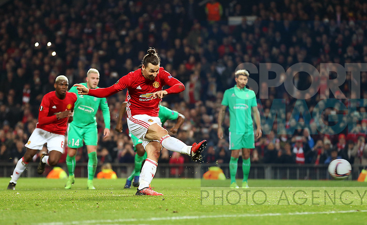 Zlatan Ibrahimovic of Manchester United scores his sides third goal from the penalty spot during the UEFA Europa League Round of 32 1st leg match at Old Trafford Stadium, Manchester. Picture date: February 16th, 2017. Pic credit should read: Matt McNulty/Sportimage