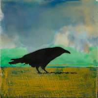 Curious crow mixed media photo transfer/encaustic painting by Florida Artist Jeff League.