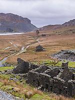 Cwmorthin Quarry and Cwmorthin Lake, a disused quarry at Tanygrisiau, Vale of Ffestiniog, Gwynedd, North Wales, Wales, United Kingdom, Europe