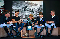 Team NZL doing a fun piece on FEI TV - and a competition on who can draw the best horse (Richard Gardner won!): Bruce Goodin, Daniel Meech, Helena Stormanns (Chef d'Equipe), Samantha McIntosh, Richard Gardner. 2017 ESP-Longines FEI Nations Cup Jumping Final - CSIO Barcelona. Real Club de Polo de Barcelona. Wednesday 27 September. Copyright Photo: Libby Law Photography