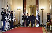 U.S. President Barack Obama (R) escorts Finland President Sauli Niinisto (L) and other Nortic leaders Iceland Prime Minister Sigurdur Ingi Johannsson, Denmark Prime Minister Lars Lokke Rasmussen, Sweden Prime Minister Stefan Lofven and Norway Prime Minister Erna Solberg in in the Cross Hall during official welcoming ceremonies at the White House in Washington, D.C. on May 13, 2016.   <br /> Credit: Pat Benic / Pool via CNP