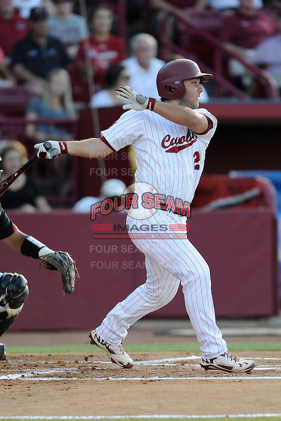 Designated hitter Max Schrock (22) of the South Carolina Gamecocks bats in an NCAA Division I Baseball Regional Tournament game against the Maryland Terrapins on Sunday, June 1, 2014, at Carolina Stadium in Columbia, South Carolina. Maryland won, 10-1, to win the tournament. (Tom Priddy/Four Seam Images)