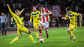 14th September 2017, Red Star Stadium, Belgrade, Serbia; UEFA Europa League Group stage, Red Star Belgrade versus BATE; Defender Filip Stojkovic of Red Star Belgrade escapes the challemge of 3 BATE players