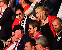 Lincoln City Director Clive Nates watches the game in with the Lincoln City fans<br /> <br /> Photographer Andrew Vaughan/CameraSport<br /> <br /> The EFL Sky Bet League Two Play Off Second Leg - Exeter City v Lincoln City - Thursday 17th May 2018 - St James Park - Exeter<br /> <br /> World Copyright &copy; 2018 CameraSport. All rights reserved. 43 Linden Ave. Countesthorpe. Leicester. England. LE8 5PG - Tel: +44 (0) 116 277 4147 - admin@camerasport.com - www.camerasport.com