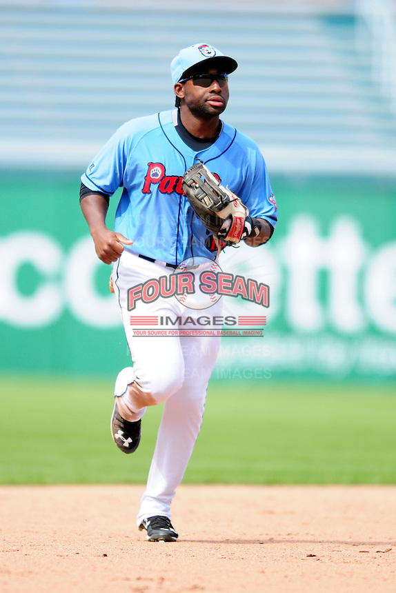 Pawtucket Red Sox center fielder Jackie Bradley Jr.(19) during a game versus the Durham Bulls at McCoy Stadium in Pawtucket, Rhode Island on May 3, 2015.  (Ken Babbitt/Four Seam Images)