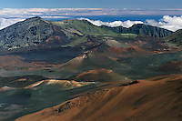 Popular landscape view of the the crater and multi colored cinder cones in HALEAKALA NATIONAL PARK on Maui in Hawaii