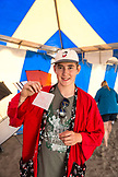USA, Washington State, Long Beach Peninsula, International Kite Festival, miniature kite building and flying competitor Marty Hill