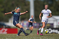 Sanford, FL - Saturday Oct. 14, 2017:  A Courage player passes the ball during a US Soccer Girls' Development Academy match between Orlando Pride and NC Courage at Seminole Soccer Complex. The Courage defeated the Pride 3-1.