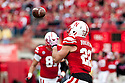 29 October 2011: Rex Burkhead #22 of the Nebraska Cornhuskers makes a catch and runs it in for a touchdown in the third quarter against the Michigan State Spartans at Memorial Stadium in Lincoln, Nebraska.  Nebraska defeated Michigan State 24 to 3.