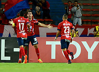 MEDELLIN - COLOMBIA: 20 - 04 - 2017: Valentin Viola (Cent.), jugador de Deportivo Independiente Medellin, celebra el gol anotado a Melgar, durante partido de la fase de grupos, grupo 3, fecha 3 entre Deportivo Independiente Medellin de Colombia y Melgar de Peru por la Copa  Conmebol Libertadores Bridgestone 2017 en el Estadio Atanasio Girardot, de la ciudad de Medellin. / Valentin Viola (C), player of Deportivo Independiente Medellin, celebrates the goal scored to Melgar, during a match for the group stage, group 3 of the date 3, between Deportivo Independiente Medellin of Colombia and Melgar of Peru for the Conmebol Libertadores Bridgestone Cup 2017, at the Atanasio Girardot, Stadium, in Medellin city. Photos: VizzorImage / Leon Monsalve / Cont.