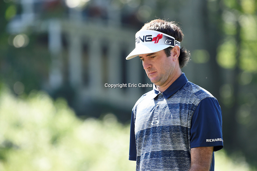 August 5, 2016: Bubba Watson walks to his ball on the 18th fairway during day two of the PGA Travelers Championship held at TPC River Highlands in Cromwell CT. Eric Canha/CSM