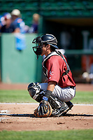 Freddy Fermin (20) of the Idaho Falls Chukars on defense against the Ogden Raptors in Pioneer League action at Lindquist Field on July 2, 2017 in Ogden, Utah. Ogden defeated Idaho Falls 6-5. (Stephen Smith/Four Seam Images)
