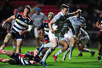 George Ford of Bath Rugby goes on the attack. European Rugby Challenge Cup match, between Bristol Rugby and Bath Rugby on January 13, 2017 at Ashton Gate Stadium in Bristol, England. Photo by: Patrick Khachfe / Onside Images